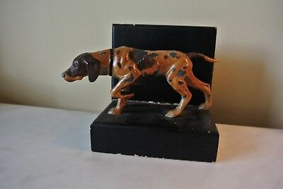 Vtg Spelter Setter Pointer Dog Boy Dog Bookend