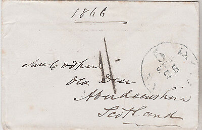 1866 New York USA transatlantic stampless packet cover sent to Aberdeen Scotland