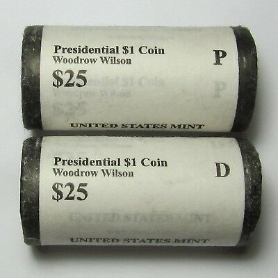 Mint Rolls of 2013-P & 2013-D Woodrow Wilson Presidential Dollars BU Roll Set