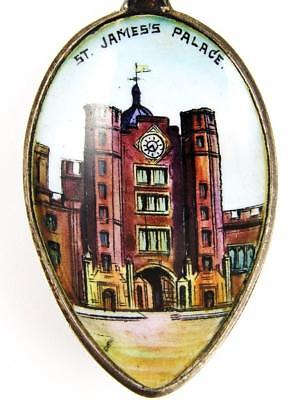 Antique St. James Palace, London, England Sterling Silver & Enamel Spoon