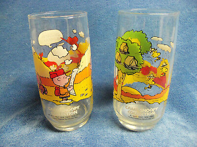 McDonalds Peanuts Camp Snoopy Collection Set Of 2 16 oz. Glasses