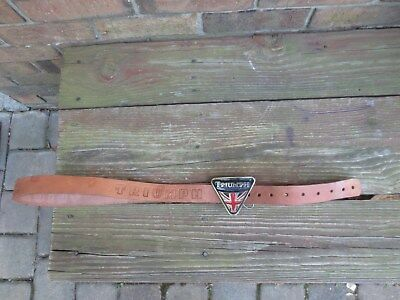 """Vintage Used Leather Belt with Triumph Motorcycle Buckle 50"""" Long"""