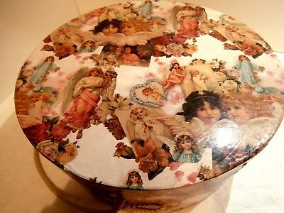 """Round Vintage Hat Box 12"""" Diameter Covered w/Angel Pictures Glaze Finish Rope"""