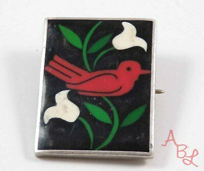 Sterling Silver Vintage 925 Cardinal Flowers Mexican Brooch (7.5g) - 726090