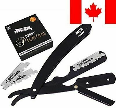 Professional Barber Straight Edge Razor Safety with 100 Derby Blades - 100 Pe...