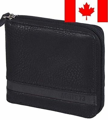 Roots 73 Men's Zip Around Trifold RFID Protected ID Wallet Black