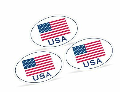 """3 Pack - Large 4"""" x 6"""" Oval-Shaped United States American Flag Decal Stickers..."""