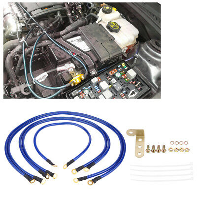 Car/Truck Battery Electronic Copper Ground/Earth Wire Cable System Kit Blue El
