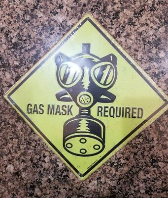 gas mask required embossed metal sign funny joke zombie wall boys