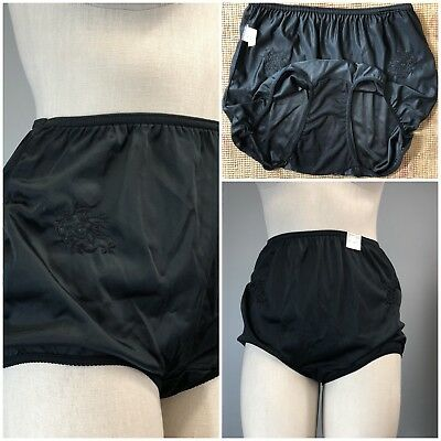 Vtg 70s 80s Woolworth Black Silky Briefs Embroidered Granny Panties Panty 8 NOS