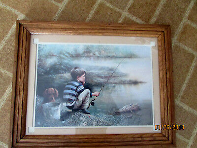 Ruane Manning Boy & his buddy Fishing. Framed Matted