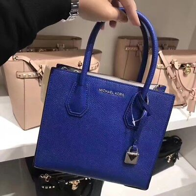 77a2bd7ac3a3 Michael Kors Studio Mercer Medium Electric Blue Pebbled Leather Messenger  Bag