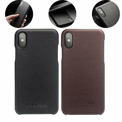 QIALINO Genuine Leather Bumper Protective Back Case Cover Skin Armor Fr iPhone X
