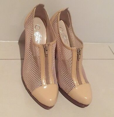 Andrea & Joen Beige / light tan Platform heels with zip & fishnet. Size 8