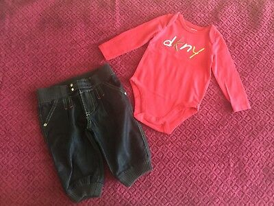 Pre-Owned DKNY Outfit (One Jeans + One Bodysuit) Baby Girl 3-6 Months