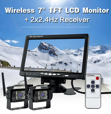 """2*Wireless Backup Camera w/ 7"""" TFT Reverse Rear view Monitor Kit For Truck Bus"""