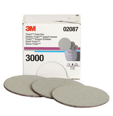 For 3M 02087 Trizact Hookit 3 Inch P3000 Grit Foam Disc Automotive (1-15 Sheets)