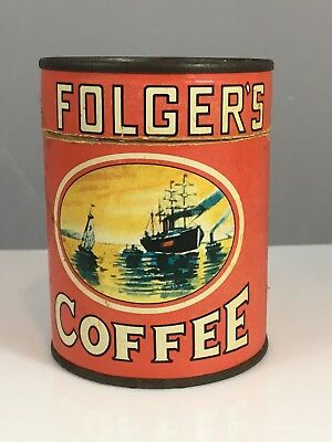 Vintage Folgers Coffee Advertising Can And Puzzle Premium