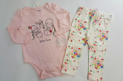 Baby Girl 3-6 Month Baby Gap Pink Floral Print Double Bodysuit /& Poplin Shorts