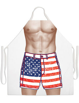 NEW American Chiseled Abs Patriotic Flag Shorts Apron - Poly Cotton Full Color