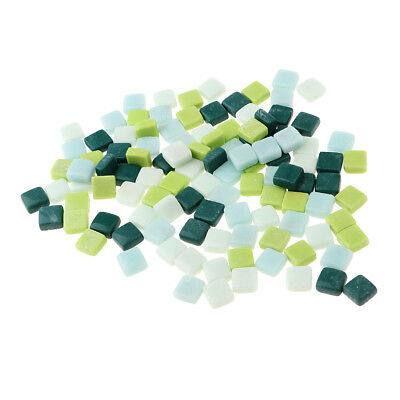 110x Mixed Green Square Glass Mosaic Tiles Tessera for Art Craft DIY 12x12mm