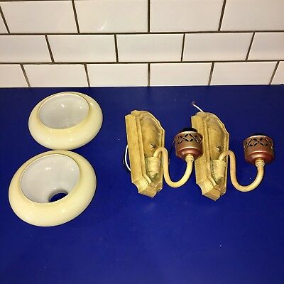 Wired Pair of geometric shape early Art Deco slip shade sconces 46E