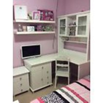 Girls White Timber Desk, Hutch And Chair