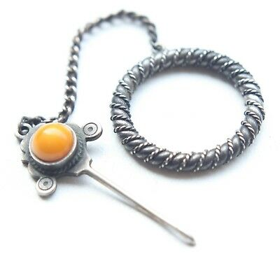 Antique Vintage Ornament Silver Brooch Pin Fibula With Amber