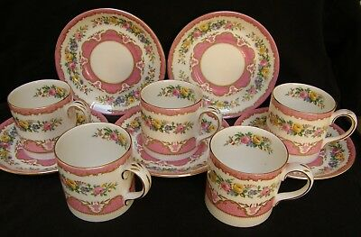 VINTAGE Crown Staffordshire pink Tunis ~ Set of five drum shaped cups & saucers
