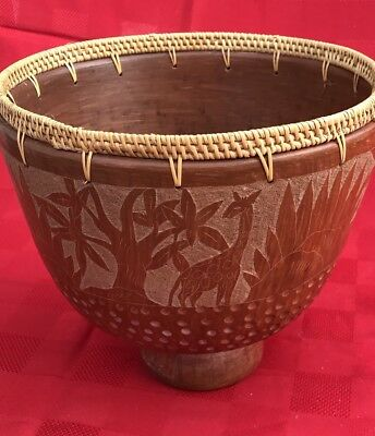Vintage  Handmade Wicker Weaved Edge Clay Pottery Bowl Giraffe And Trees