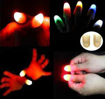 2pcs Magic Light up flashing thumbs fingers trick appearing Party light close up