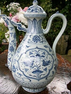 Large Blue & White Chinese Porcelain Ewer Decorated with Mandarin Drakes Perfect