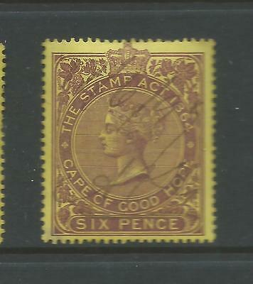 Cape of Good Hope Queen Victoria  Revenue Stamp Duty 6d Used