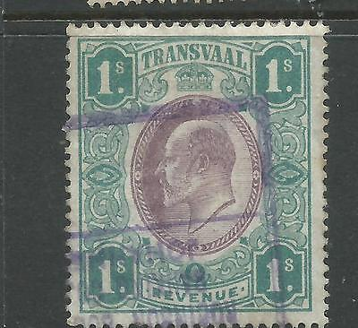 Transvaal George V Revenue Stamp Duty 1s Blue-Green Used