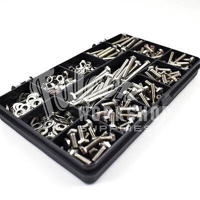 475 Assorted Piece A2 M3 Fully Threaded Bolts Nuts Washers Screws Stainless Kit