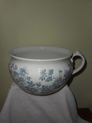 Vtg Clementson Bros England Chamber Pot With Blue & White Transferware - Chester