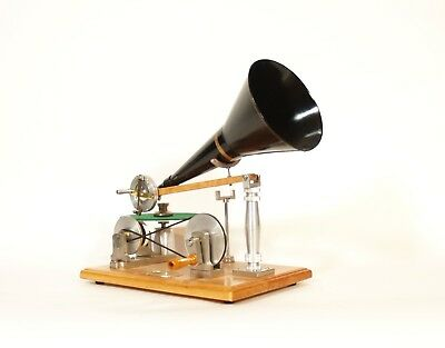 1896 Hand-Wind Gramophone Replica * Full Size Copy of Berliner Era Phonograph