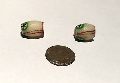 Pair of Rare Antique Venetian Red Center Murine African Glass Trade Beads