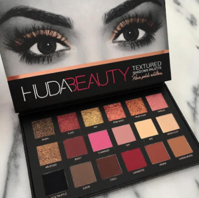 Genuine HUDA Beauty ROSE GOLD Textured Eye Shadow Makeup Palette 18 Sexy Colours