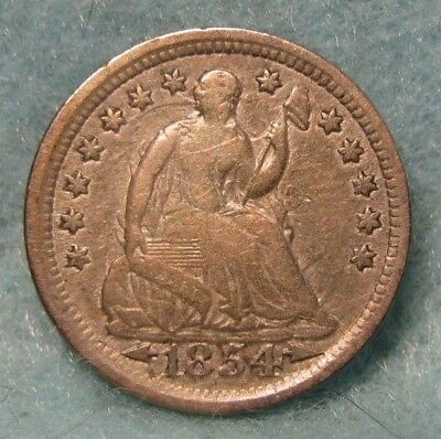 1854 Seated Liberty Silver Half Dime VF- Strong Clashed Dies * US Coin *