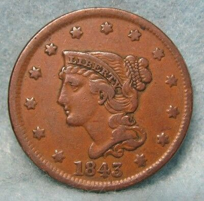 1843 Petite Head Braided Hair Large Cent VF-XF Nice Coin!! * US Coin *