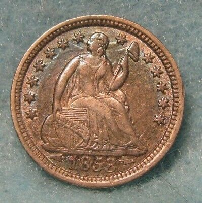1853 Seated Liberty Silver Half Dime CHOICE AU Album Toning! Strong Clashed Dies