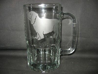 New Etched Sussex Spaniel Glass Root Beer Mug