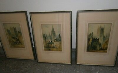 Antique/Vintage English Set Of 3 Etching Prints Personally Singed F. Robson
