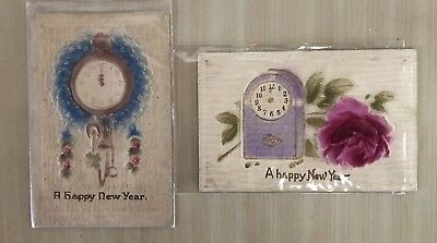 Lot-of-2-Vintage-New Years Clocks-Heavy Embossed-Airbrushed-Postcards-p702