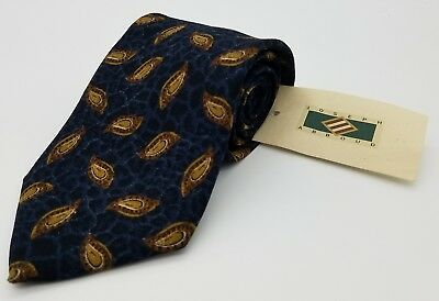 NWT  Vintage Joseph Abboud Men's Neck Tie 100% Silk Blue Paisley Made in USA NOS