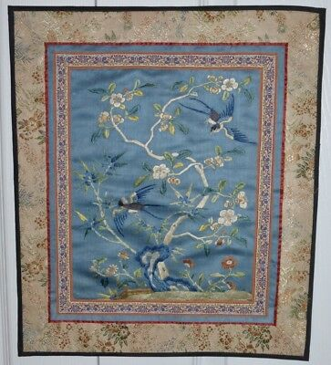 """Vintage Chinese Embroidered Silk Panel 15.5"""" By 13 1/4"""""""