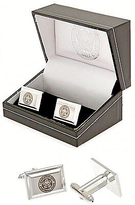Leicester City Fc Silver Plated Crest Mens Foxes Cufflinks Lcfc Gift Boxed