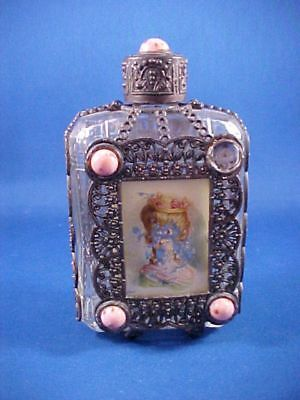 Vintage Antique Renaissance Cologne Scent Bottle with metal mesh covering