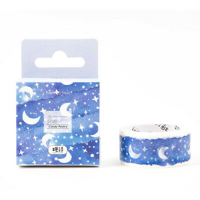 ITS- 1 Roll Blue Moon Star Washi Tapes Stationery Stickers Scrapbooking Tapes He